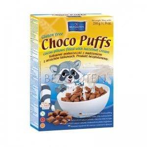 Choco Puffs  kakaowe poduszeczki z nadzieniem laskowym 250g BEZGLUTEN