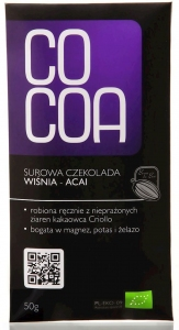 CZEKOLADA SUROWA WIŚNIA-ACAI BIO 50 g - COCOA