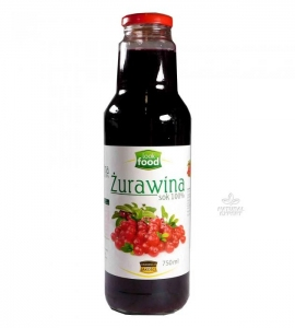 SOK Z ŻURAWINY 100% BEZ CUKRU 750ml LOOK FOOD